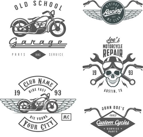 motorcycle logos creative retro vectors 01 free download
