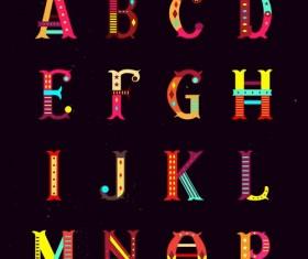 Multicolor shiny alphabet vectors set