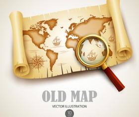 Old treasure map vector design graphics 01