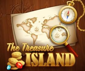 Old treasure map vector design graphics 03