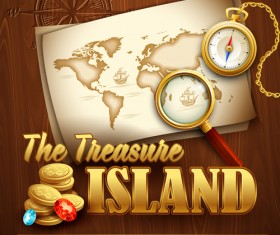 Old treasure map vector design graphics 04