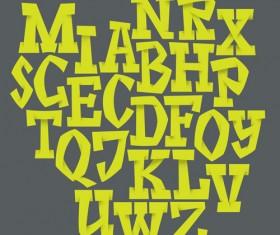 Origami alphabet yellow vector material