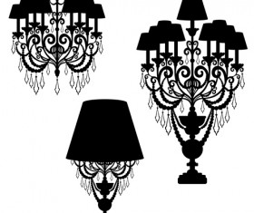 Ornate chandelier vector silhouette set 18