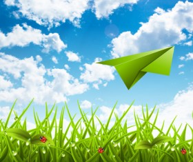 Paper airplane with spring background vector