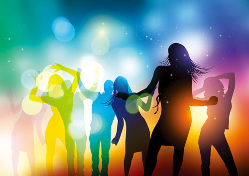 people silhouettes and party backgrounds vector 04 free download