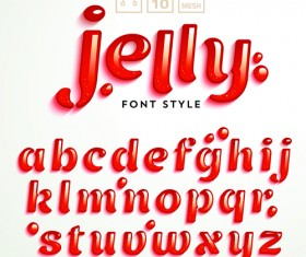Red jelly alphabets vectors material