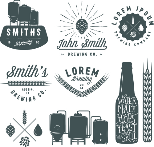 Retro Brewing Labels With Logos Vector 02 Free Download