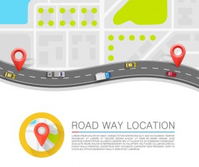 Road way location navigation template vector 02