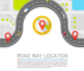 Road way location navigation template vector 03