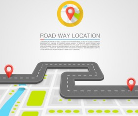 Road way location navigation template vector 04