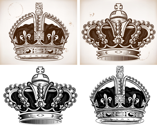 Royal crown vintage design vectors 01 vector other free for Royal crown tattoo