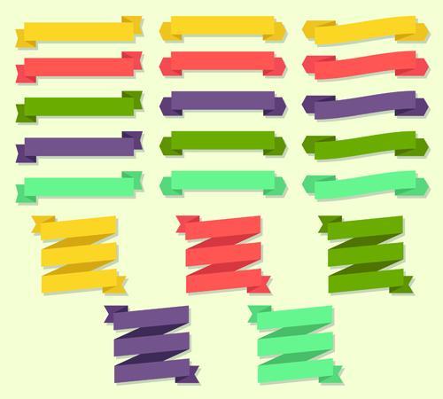 Set of ribbons banner vintege vectors 01
