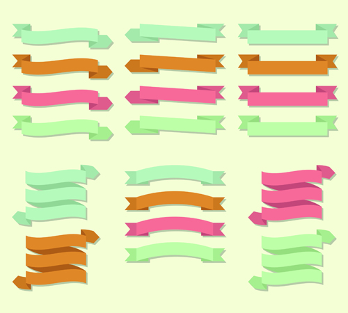 Set of ribbons banner vintege vectors 02