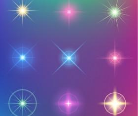 Shiny light effect stars vector material 03