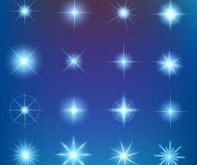 Shiny light effect stars vector material 04