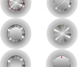 Silver metal player button vector material