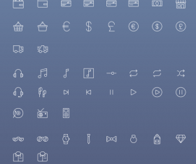 Small fine icons white line psd material