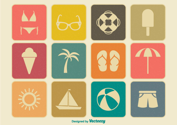 Summer time flat icons vector