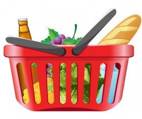 Supermarkets shopping basket with food vector 01