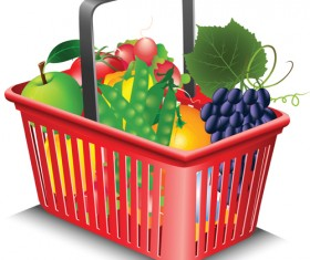 Supermarkets shopping basket with food vector 02