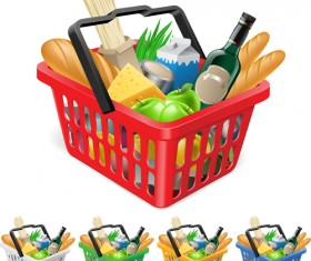 Supermarkets shopping basket with food vector 03
