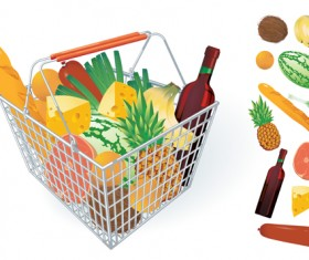 Supermarkets shopping basket with food vector 04
