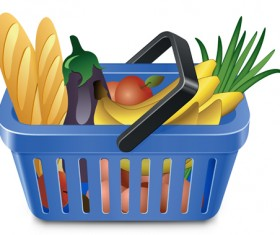 Supermarkets shopping basket with food vector 05