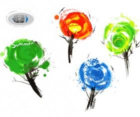 Tree watercolor drawn vector material