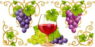 Vector Juicy grapes design graphic set 05