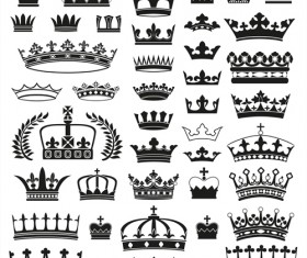 Vector crown creative silhouettes set 03