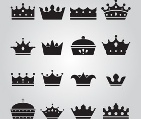 Vector crown creative silhouettes set 05
