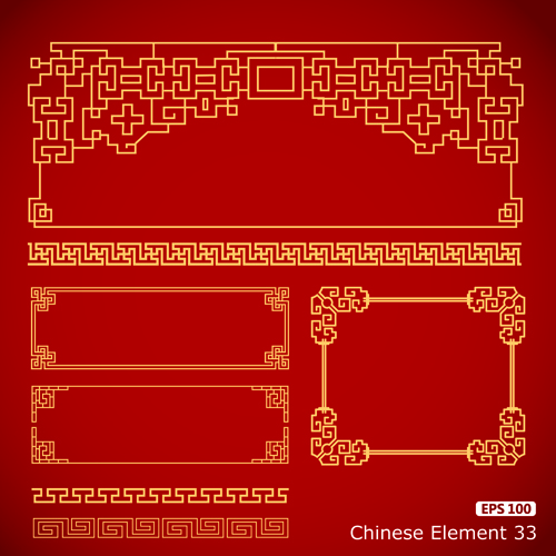 Vector frame with borders chinese styles vector vector for Chinese vector