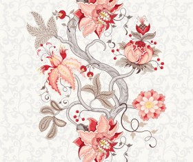 Vine flower with floral background vector 02