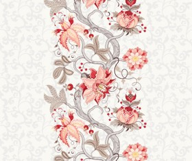 Vine flower with floral background vector 03