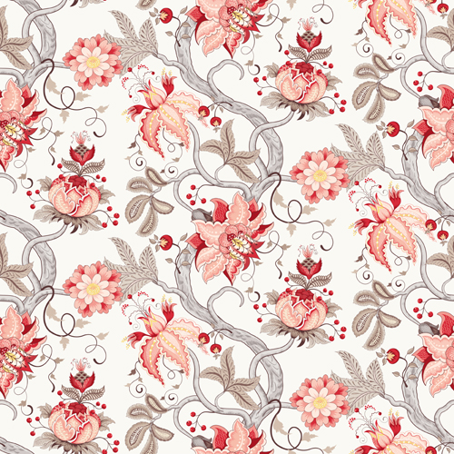 Vine with flower seamless pattern vector 02