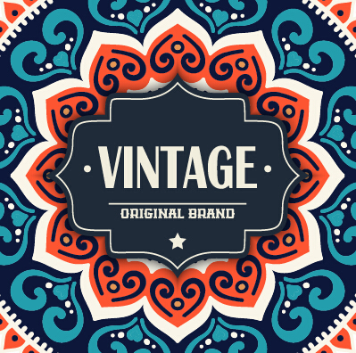 Vintage frame with ethnic pattern vector backgrounds 02