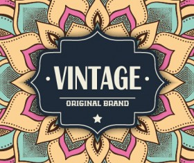 Vintage frame with ethnic pattern vector backgrounds 04