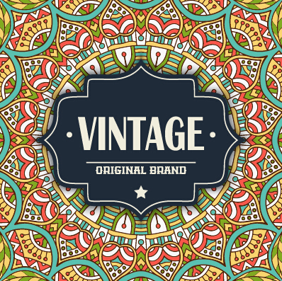 Vintage frame with ethnic pattern vector backgrounds 10