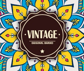 Vintage frame with ethnic pattern vector backgrounds 16