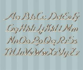 Vintage metal auto font vector material 04