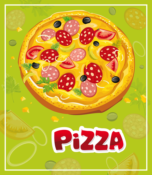 Vintage Pizza Slices Poster Vectors Material Free Download