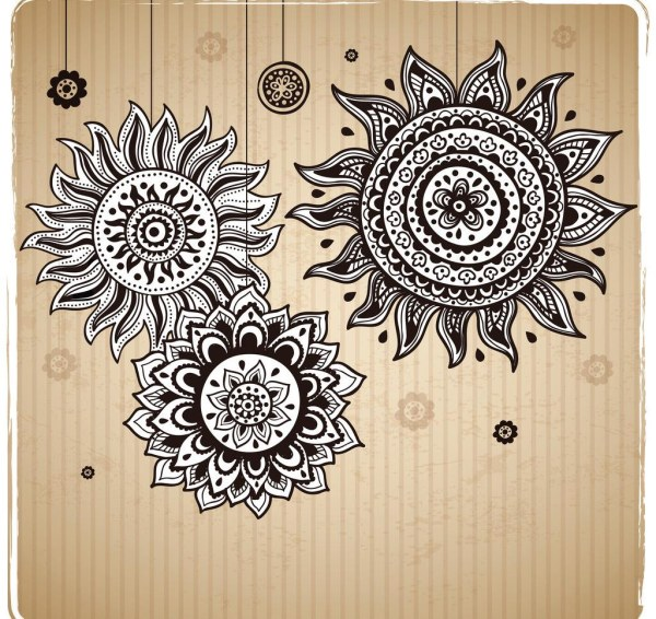 Vintage sunflower pattern background vector - Vector ...