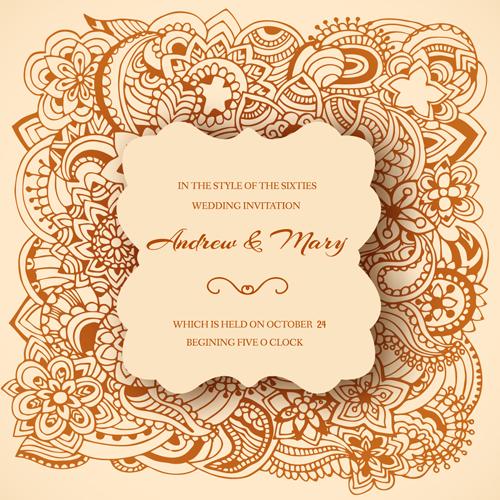 Wedding Invitation Ornaments Floral Vector