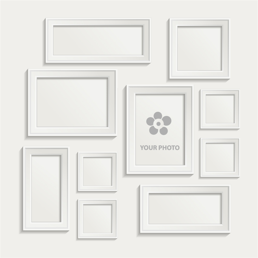 White photo frame set 02 vector free download