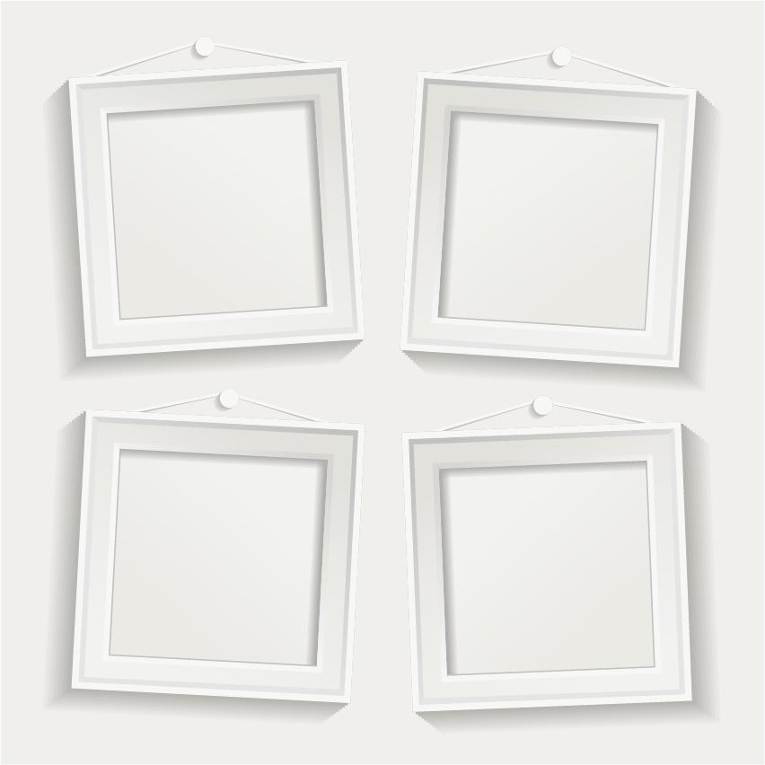 Ordinary White Frame Set Part - 5: White Photo Frame Set 05 Vector