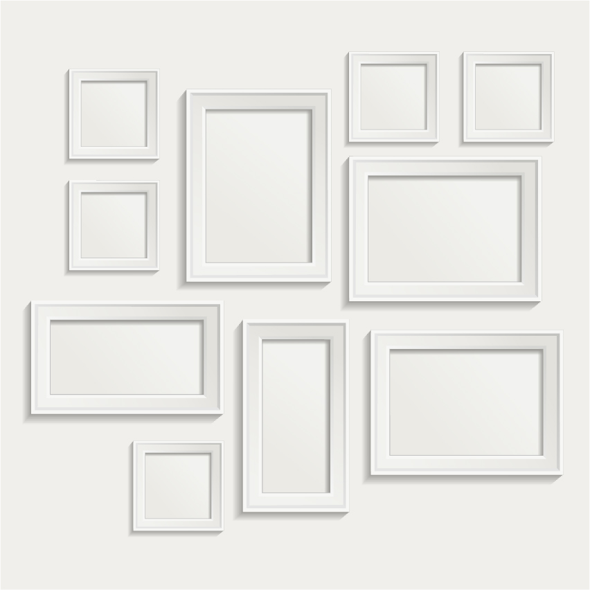 White photo frame set 06 vector