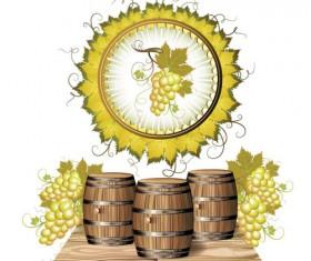 Wine barrels and grapes vector material 02