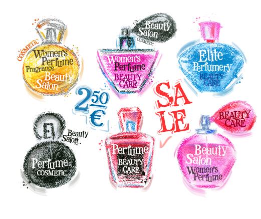 Women perfume hand drawn vector set