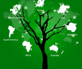 World map tree vector material 02