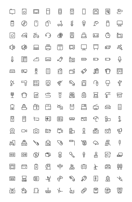 160 kind icons outline material set